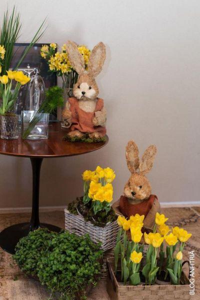 A decoração de Páscoa para sala de casa é linda e vale a pena investir sem medos (Foto: pinterest.com)